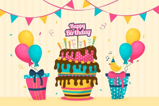 Fond d'anniversaire plat coloré