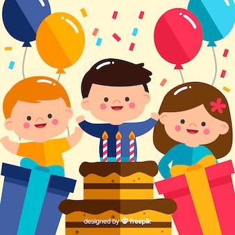 Fond d'anniversaire plat enfants