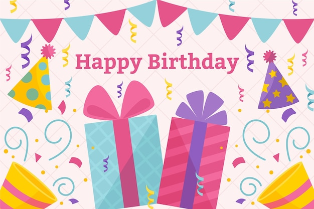 Fond D'anniversaire Plat Vecteur gratuit