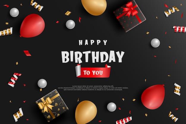 Fond d'anniversaire réaliste avec des ballons et des coffrets cadeaux