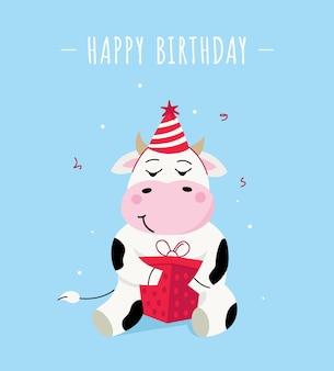 Fond d'anniversaire avec vache mignonne et cadeau