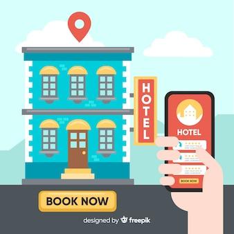 Fond d'application de réservation d'hôtel plat