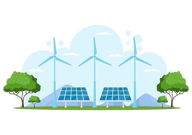 Fond d'approvisionnement en énergie écologique durable illustration vectorielle à plat bâtiments de la centrale électrique avec panneaux solaires, gaz, géothermie, énergies renouvelables, eau et éoliennes