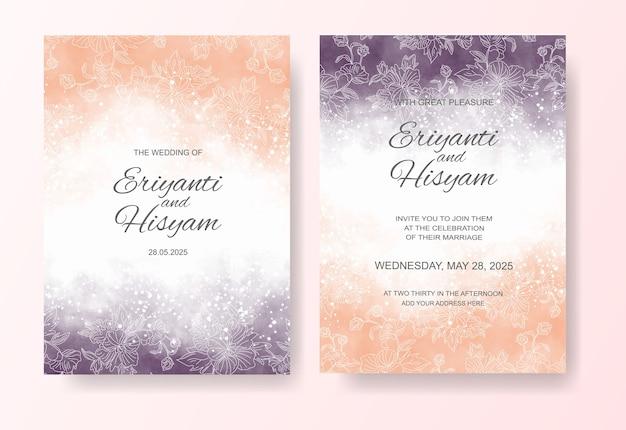 Fond aquarelle belle carte de mariage avec éclaboussures et lignes florales