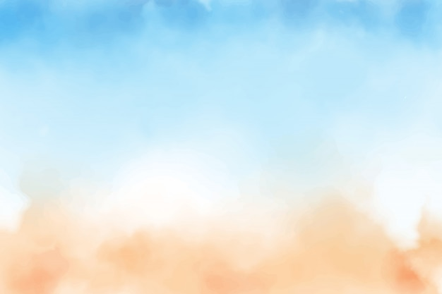 Fond aquarelle bleu ciel et plage de sable