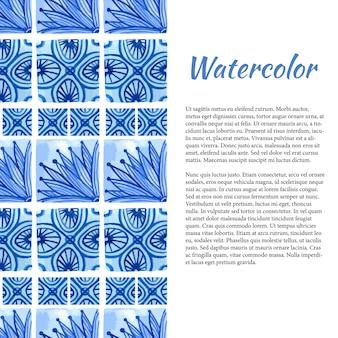 Fond aquarelle. bordure d'ornement en couleur bleue.
