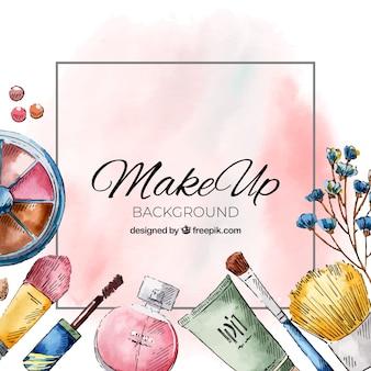 Fond aquarelle avec des cosmétiques