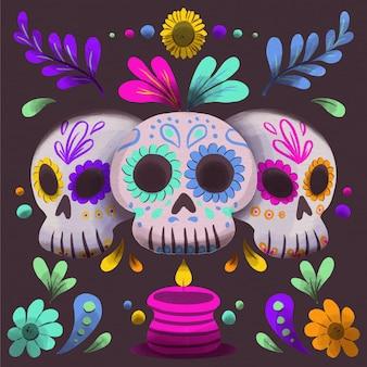 Fond aquarelle día de muertos