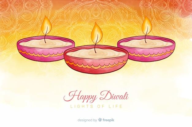 Fond aquarelle de diwali et bougies en dégradé