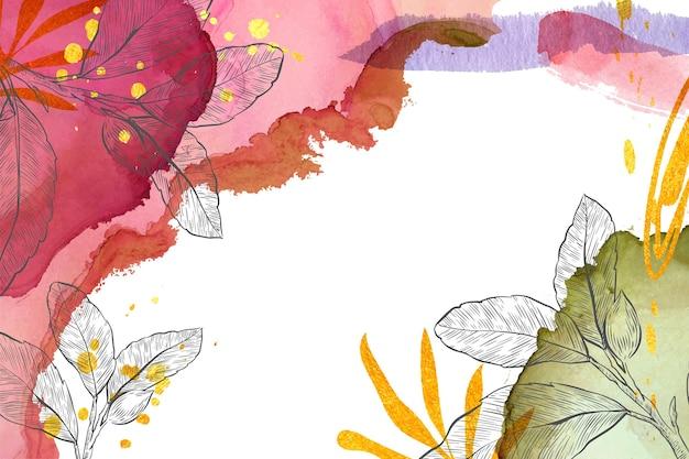 Fond aquarelle avec des éléments dessinés à la main