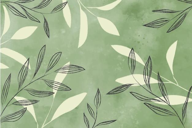Fond aquarelle avec des feuilles