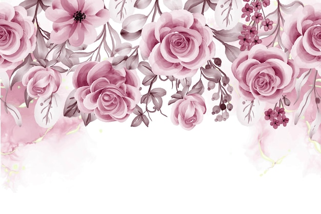Fond aquarelle avec des fleurs et des feuilles d'or rose