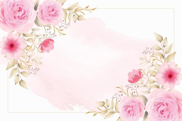 Fond d'aquarelle avec des fleurs et des feuilles roses d'or vecteur gratuit