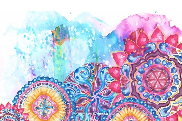 Fond aquarelle de fleurs ornementales