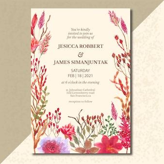 Fond aquarelle floral botanique rose rouge