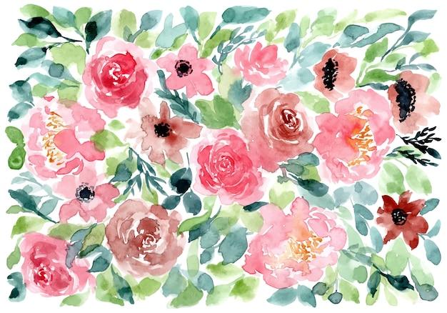 Fond aquarelle floral rose rouge vert