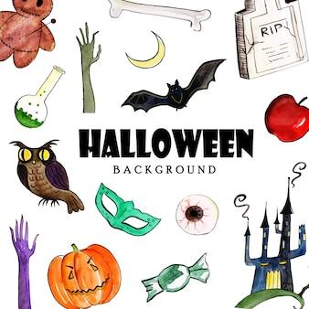 Fond d'aquarelle halloween elements collection