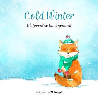 Fond aquarelle hiver froid