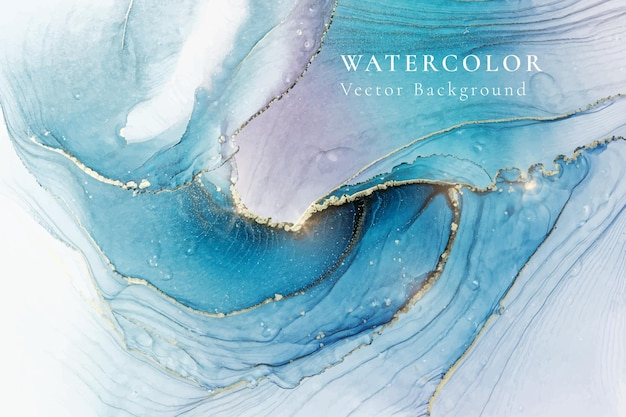 Fond aquarelle liquide bleu cyan violet avec des taches dorées