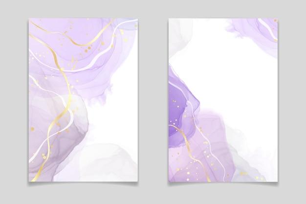 Fond aquarelle liquide de lavande de luxe abstrait avec des fissures dorées