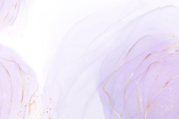 Fond aquarelle liquide mauve avec éclaboussures de paillettes dorées