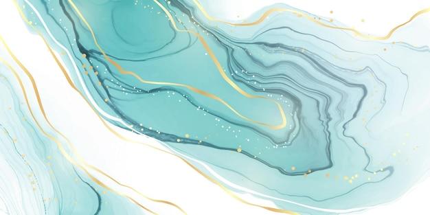 Fond aquarelle de marbre liquide menthe cyan pastel avec des lignes ondulées