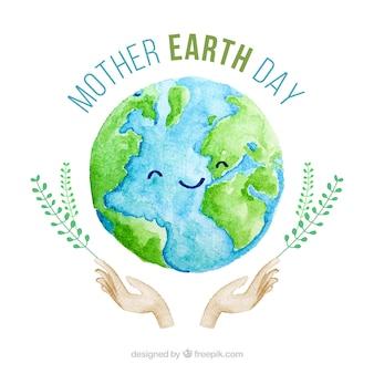 Fond aquarelle mignon pour la journée de la terre mère