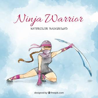 Fond aquarelle ninja
