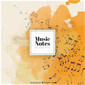 Fond d'aquarelle avec des notes de musique