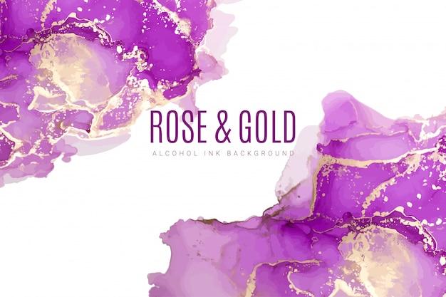 Fond aquarelle de nuances violettes et roses, encre