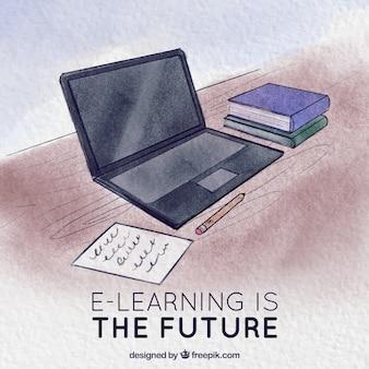 Fond d'aquarelle avec un ordinateur portable pour l'éducation en ligne