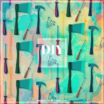 Fond d'aquarelle avec des outils