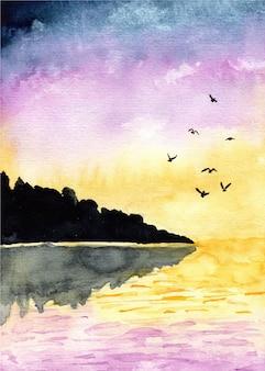 Fond aquarelle paysage coucher de soleil