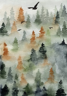 Fond aquarelle paysage de forêt verte brumeuse