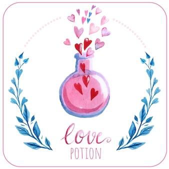Fond aquarelle de potion d'amour