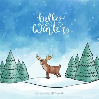 Fond aquarelle de renne hiver