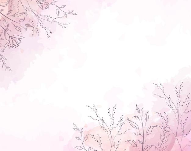 Fond aquarelle rose avec des peintures et des fleurs