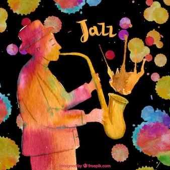 Fond d'aquarelle avec le saxophoniste