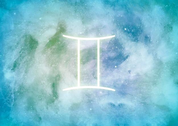 Fond aquarelle avec signe du zodiaque gémeaux