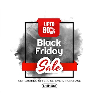 Fond aquarelle de vente vendredi noir moderne