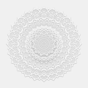 Fond d'arabesque luxueux avec art de style mandala blanc propre