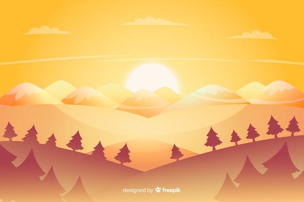 Fond d'arbres et de montagnes
