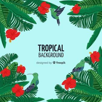 Fond d'arbres tropicaux dessinés à la main