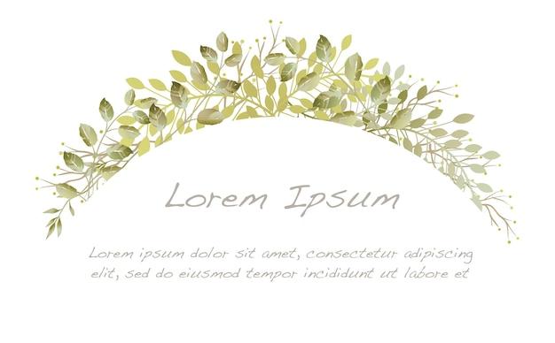 Fond d'arc botanique aquarelle isolé sur fond blanc.