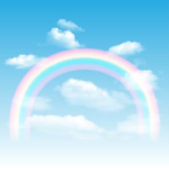 Fond avec arc en ciel, ciel bleu et nuages.