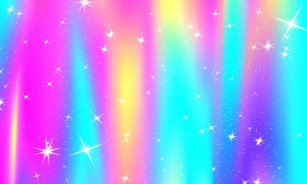 Fond arc-en-ciel holographique. motif de licorne.