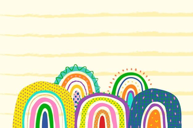 Fond arc-en-ciel jaune, vecteur de griffonnage funky
