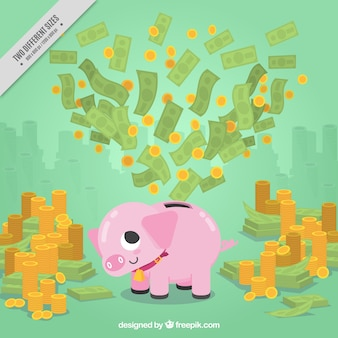 Fond d'argent avec la tirelire et les montagnes de pièces de monnaie et billets de banque