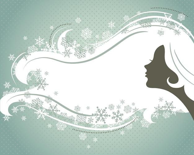Fond argenté de noël avec la silhouette d'une jeune femme. illustration