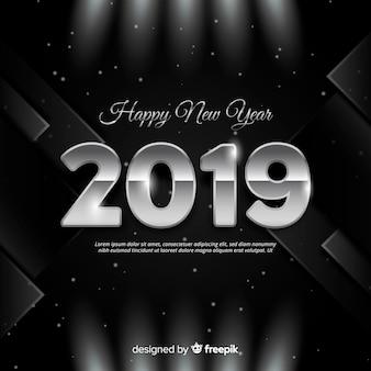 Fond argenté nouvel an 2019
